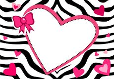 Cute heart zebra frame Stock Image