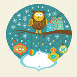 Cute owl on the branch. Greeting card Stock Photo