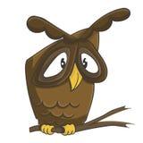 Cute owl on the branch cartoon. Cute owl cartoon. Vector illustration of bird Royalty Free Stock Images