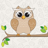 Cute owl on the branch. Vector illustration of the cute owl on the branch with green leafs Royalty Free Stock Image
