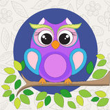 Cute owl on the branch. Vector illustration of the cute owl on the branch with green leafs Royalty Free Stock Images