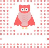 Cute owl card. Baby girl arrival announcement card Royalty Free Stock Images