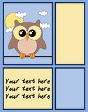 Cute owl card with copy space. Royalty Free Stock Photography