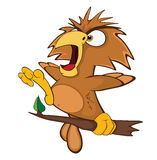 Cute Owl Cartoon Character. Small brown the owl sits on a tree branch vector illustration