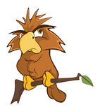 Cute Owl Cartoon Character. Small brown the owl sits on a tree branch stock illustration