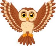 Cute owl cartoon flying. Illustration of Cute owl cartoon flying stock illustration