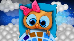 Cute owl cartoon is going to sleep, best loop video background for lullabies to put a baby go to sleep and calming , relaxing