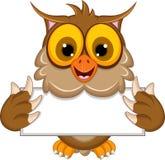 Cute owl cartoon holding blank sign Stock Photos