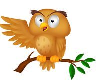 Cute owl cartoon waving Royalty Free Stock Photos