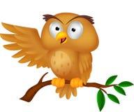 Cute owl cartoon waving. Illustration of Cute owl cartoon waving royalty free illustration