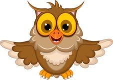 Cute owl cartoon waving. Illustration of cute owl cartoon waving vector illustration