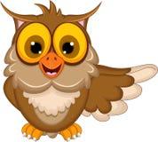 Cute owl cartoon waving. Illustration of cute owl cartoon waving stock illustration