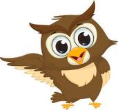 Cute owl cartoon waving Royalty Free Stock Image