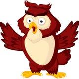 Cute owl cartoon waving wing. Illustration of Cute owl cartoon waving wing Stock Photos