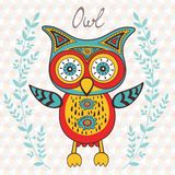 Cute owl character Stock Images