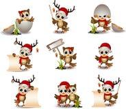 Cute owl christmas cartoon set vector illustration