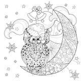 Cute owl on christmas half moon Stock Photos