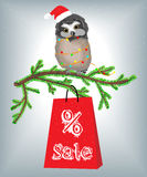 Cute owl and Christmas sales Royalty Free Stock Photography