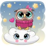 Cute Owl a on the Cloud. Cute Cartoon Owl is sitting a on the Cloud royalty free illustration
