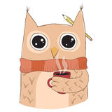 Cute owl with coffee cup. Stock Photo
