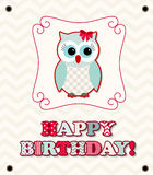 Cute owl with colorful patterned letters, birthday card, illustration Stock Image