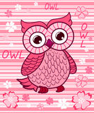 Cute owl on the colorfull background. Royalty Free Stock Photography
