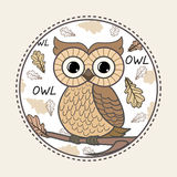Cute owl on the colorfull background. Royalty Free Stock Image