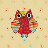Cute owl with ethnic ornament Royalty Free Stock Photo