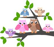 A cute owl family. Sitting in a tree vector illustration