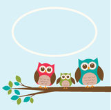Cute owl family on branch with place for text Royalty Free Stock Photography