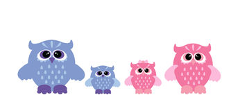 Cute owl family. Royalty Free Stock Photography