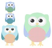 Cute owl family isolated on white Royalty Free Stock Photos