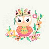 Cute owl and flowers. Cute owl with feather on a branch with flowers. Children illustration in vector Royalty Free Stock Images