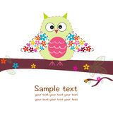 Cute owl with flowers colorful greeting card Royalty Free Stock Images
