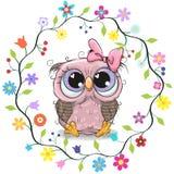 Cute Owl in a flowers frame