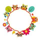 Cute Owl Frame Background Vector Illustration