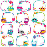 Cute owl frames clip art set Royalty Free Stock Images