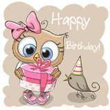 Cute Owl with gift on a beige background. Greeting card cute Owl with gift and a bird on a beige background royalty free illustration