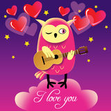 Cute owl guitar player. Night sky Royalty Free Stock Images