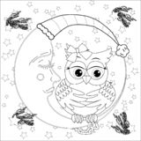 Cute owl on half moon with stars. Adult anti stress coloring book. Or tattoo boho style stock illustration