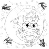 Cute owl on half moon with stars. Adult anti stress coloring book. Or tattoo boho style vector illustration