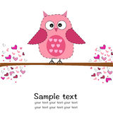 Cute owl with heart baby shower greeting card Stock Photos
