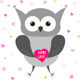 Cute owl with heart. Valentines Day card design. Royalty Free Stock Photo