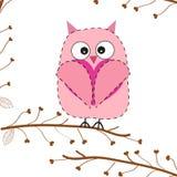 Cute owl hold heart greeting card Stock Photos