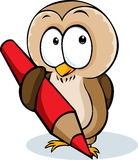 Cute owl hold pencil cartoon - vector illustration Royalty Free Stock Photos