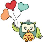 Cute owl holding heart shaped balloons Royalty Free Stock Photos