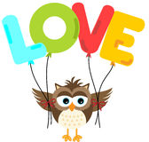 Cute owl holding love balloon Stock Photo