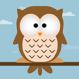Cute owl illustration. Owl On tree branch. illustration of Cartoon owl sitting on tree branch. Cute Vector Owl. Cute owl isolated illustration. Wise old owl sat royalty free illustration