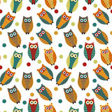 Cute owl kids seamless pattern, vintage style. Funny birds endless baby background. Vector illustration. Stock Photography