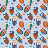 Cute owl kids seamless pattern, vintage style. Funny birds endless baby background. Vector illustration. Royalty Free Stock Images
